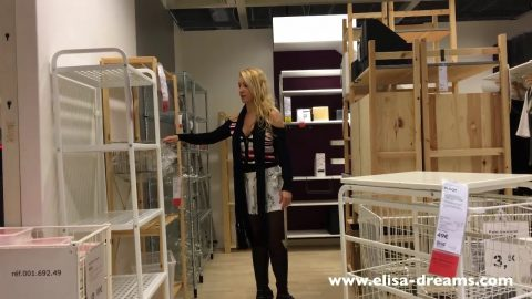 Elisa Dreams -  Upskirt And Flashing No Panty In Public In A Famous Shop