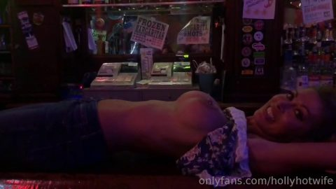 HOLLYHOTWIFE - Topless body shots on the bar